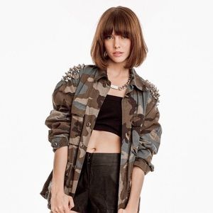 TOPSHOP CAMO SPIKED AND STUDDED MILITARY JACKET